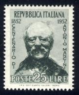 Mancini - 1952 - 25 Lire Verde E Nero (Sassone 703MG) MNH** - 6. 1946-.. Republic