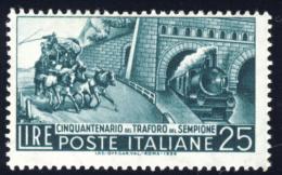Traforo Del Sempione - 1956 - 25 Lire Verde Scuro (Sassone 797) MNH** - 1946-60: Nuovi