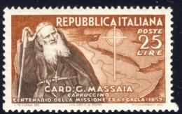 Cardinale Massaia - 1952 - 25 Lire Bruno Rosso E Bruno (Sassone 702) MNH** - 1946-60: Nuovi