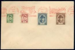 BL5-250 TSJECHOSSLOVAKIA 1935 ENVELOPPE WITH YV 292-295, 80th ANNI TG MASARYK. CANCELLATION PRAHA 10. - Postwaardestukken