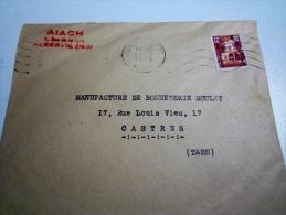 Lettre Pour Castres  Provenance Alger Aiach  1955 - Marcophilie (Lettres)