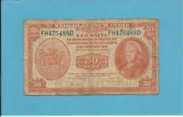NETHERLANDS INDIES - 50 CENTS - 02.03.1943 - Pick 110 - Queen Wilhelmina - 2 Scans - Dutch East Indies