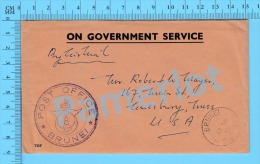 Brunei ( On Government Service Cover Post Office Brunei 1958 To Amesbury Mass ) Recto/Verso - Brunei (1984-...)