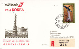Genève ONU UNO Seoul 1986 - Swissair Korea Corée Corea - Erstflug First Flight 1er Vol - - Korea (Süd-)