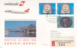 Zurich  Seoul 1986 - Swissair Korea Corée Corea - Erstflug First Flight 1er Vol - - Korea, South