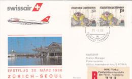 Zurich  Vaduz Seoul 1986 - Swissair Korea Corée Corea - Erstflug First Flight 1er Vol - - Schweiz