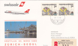 Zurich  Vaduz Seoul 1986 - Swissair Korea Corée Corea - Erstflug First Flight 1er Vol - - Switzerland