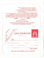 13348# ENTIER POSTAL CARTE PNEUMATIQUE Type CHAMPLAIN 12.00 Fs NEUVE NON PLIEE - Pneumatic Post