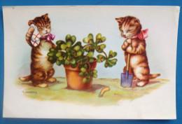 Litho Illustrateur GOUGEON GOLO Gold Chats Chat Humanisé JARDIN Beche Plante POT Trefles 4 Feuilles - Gougeon
