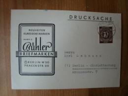 """10 Pfg. Ziffern Auf Werbekarte !Briefmarken Bühler, Berlin"""" - Zone Anglo-Américaine"""