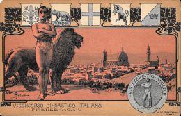 [DC5151] CARTOLINA - RARA - VI CONCORSO GINNASTICO ITALIANO - FIRENZE 1904 - ILL. ANICHINI Non Viaggiata - Old Postcard - Gimnasia