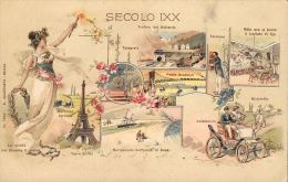[DC5152] CARTOLINA - RARA - SECOLO IXX INVENZIONI E COSTRUZIONI DEL SECOLO ILL. GAGIOLI - Viaggiata 1900 - Old Postcard - Storia