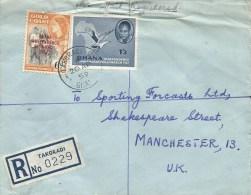 Ghana 1959 Takoradi C5 Type 21 Nkrumah Fish Eagle Cocoa Registered Cover From Military 1 Ghana Regt - Ghana (1957-...)