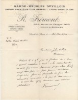 76 DEVILLE LES ROUEN Canton De Mont-Saint-Aignan FACTURE 1926 GARDE MEUBLES DEVILLOIS R. FREMONT Route De Dieppe   - C29 - France