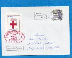 Lettre Commerciale-Grève 1988-VIGNETTE-3FrsTAXE Acheminement -Marseille -Genève+afft Suisse Arrivée - Postmark Collection (Covers)