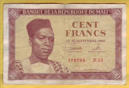 MALI - Billet De 100 Francs. 22-09-1960.  Pick: 2. TB+ - Mali