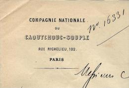 RARE ENTETE CIE NATIONAL CAOUTCHOUC SOUPLE GROUPE HUTCHINSON MARQUE  AIGLE PARIS 1860 B.E. V.SCANS+HISTORIQUE - 1800 – 1899