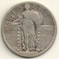 USA  1920 Standing Liberty Silver Quarter Dollar  - Philadelphia Mint - AG - 1916-1930: Standing Liberty (Libertà In Piedi)