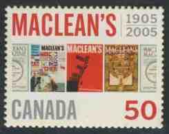 Canada 2005 Mi 2273 ** Magazine Covers Of 1911, 1954, 1962, 1917 – Cent. Maclean's Magazine /  Titelblätter - 1952-.... Regering Van Elizabeth II