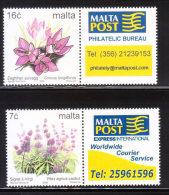 Malta 2005 Flowers + Labels 2v MNH - Malta