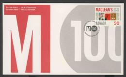 Canada 2005 FDC + Mi 2273 - Magazine Covers Of 1911, 1954, 1962, 1917 – Cent. Maclean's Magazine /  Titelblätter - Omslagen Van De Eerste Dagen (FDC)