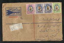 Qatar Registered Air Mail Postal Used Cover With BackSide Customs Label Qatar To Pakistan - Qatar