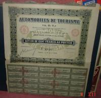 AUTOMOBILES DE TOURISME.A.D.T.Action De Cent Francs Au Porteur - Automobile