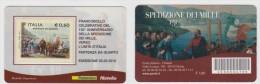 """2010 - ITALIA -   4 TESSERE  FILATELICHE   """"150° ANNIVERSARIO DELLA SPEDIZIONE DEI MILLE """" - 1946-.. République"""