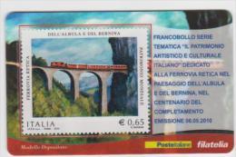 """2010 - ITALIA -   TESSERA  FILATELICA   """"CENTENARIO COMPLETAMENTO DELLA FERROVIA RETICA"""" - 6. 1946-.. Repubblica"""