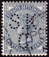 STRAITS SETTLEMENTS 1882 10c Sc#51 W.CrownCA PERFIN [P770] - Straits Settlements