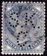 STRAITS SETTLEMENTS 1882 10c Sc#51 W.CrownCA PERFIN [P772] - Straits Settlements