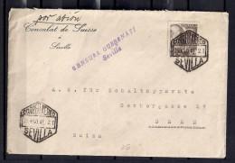 1941, SOBRE CIRCULADO ENTRE SEVILLA Y BERNA EN SUIZA, CORREO AÉREO, CONSULADO DE SEVILLA EN SUIZA, CENSURA - 1931-Aujourd'hui: II. République - ....Juan Carlos I