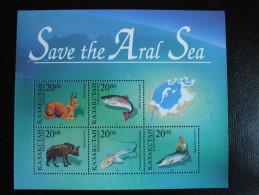 Kazakhstan 1996 - Fauna of Kazakhstan - joint issue w/ Uzbekistan - Save the Aral Sea MS