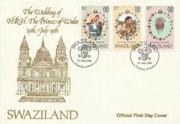 Swaziland 1981 Royal Wedding FDC - Swaziland (1968-...)