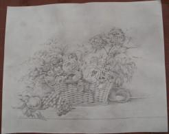 Reproduction Dessin De Jacques VILLEMUR, Bouquet De Fleurs Dans Un Panier - Autres