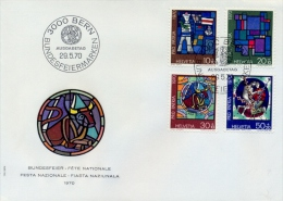 Switzerland 1970 FDC Pro Patria Stained Glass Windows By Contemporary Artists - Vetri & Vetrate