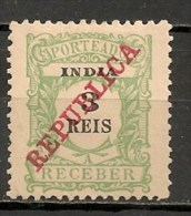 Timbres - Portugal - Inde Portugaise - Taxe - 1914 - 3 Reis - - Inde Portugaise