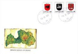 Latvia Lettland Lettonie 2003 (02) Coat Of Arms - Balvi, Gulbene, Ventspils (unaddressed FDC) - Latvia