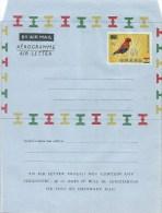 Ghana 1965 Perforated Fire Crowned Bishop Bird Overprint 6p On 6d Unused Mint Aerogramme With Watermark V - Zangvogels