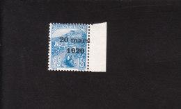 Variété 1920 N° 40 Surcharge Décalé Bord De Feuille - Superbe** - Errors And Oddities