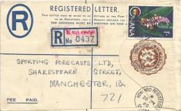Ghana 1960 Konongo Registered Ginger Flower Registered Stationary 8p Cover - Ghana (1957-...)