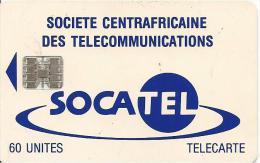 CARTE-PUCE-CENTRE AFRIQUE-60U-SC7-SOCATEL-BLEU-V°N°Rge-TBE - Central African Republic