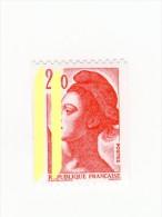 Liberté 2fr Rouge De Roulette YT 2277 2 Bandes De Phosphore à Gauche + N° Rouge . Voir Le Scan . Maury N° 2279f : 13 &eu - Variedades: 1980-89 Nuevos