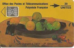 CARTE-PUCE-POLYNESIE-PF6 -SC4-30U-09/91-GAUGUIN-Les ORANGES-V° 5 Pe 32094-TBE-Reste 9U - Polynésie Française