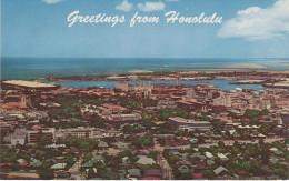 AK Greetings From Honolulu Hawaii Harbor Business Section United States USA Aerial Photo ? - Honolulu