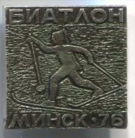 BIATHLON Minsk 1976. Soviet Union Russia, Vintage Pin, Badge - Biathlon