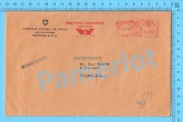 ( Frank Meter Cover 2.95 1969, Consulat Général De Suisse, Registered, Foire Suisse D´échantillons ) Recto/Verso - 1952-.... Règne D'Elizabeth II