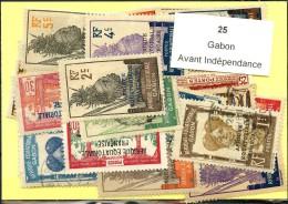 25 Timbres Gabon Avant Indépendance - Non Classés