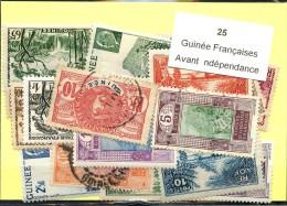 25 Timbres Guinée Francaise Avant Indépendance
