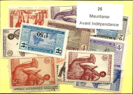 25 Timbres Mauritanie Avant Independance
